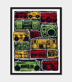 Boom Boxes Hip Hop Hipster Art Print Hand by RobertRatPrints