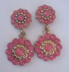 vintage coral shiny rhinestone & gold colored dangle pierced earrings NR 50 #Unbranded #DropDangle