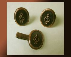 On a High Note,Jazzy Copper G Clef Cufflinks and Tie Clip,Mid Century Modern,Art Copper,Vintage Jewelry,Men