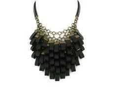 Black Leather Cluster Statement Necklace Leather por SartoJ en Etsy