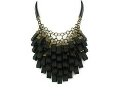 Black Leather Cluster Statement Necklace Leather by SartoJ on Etsy