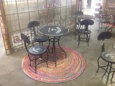 Large round reclaimed cotton rug gives texture to a floor and keeps the feet warm on cold surfaces.