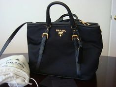 898590f3e94c New Prada Tessuto Vitello Nero Black Nylon crossbody Bag Tote satchel Purse  1841 Prada Tessuto
