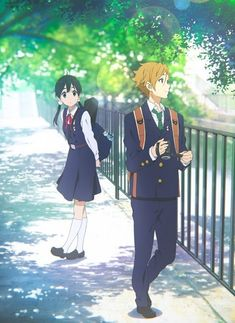 "My first thought when watching Tamako Market: ""She looks like she belongs in K-ON!, and he looks like he should be in Free!"""