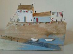 Handmade Driftwood Coastal Cottages Washing Line Boat Unique Ornament Xmas Gift   eBay