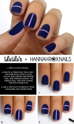 Navy Blue Lilac Striped Mani - Top 10 Most Wanted Nail Art Tutorials