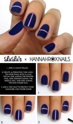 Navy Blue Lilac Striped Mani - Top 10 Most Wanted Nail Art Tutorials