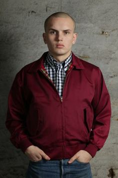 Maroon Harrington jacket by Warrior Clothing with a black gingham shirt also from Warrior