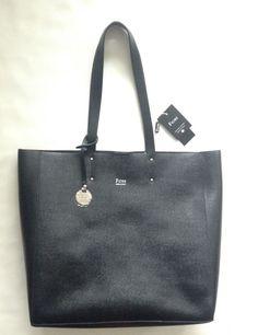 Nwt Fiore Prezzo Black Saffiano Genuine Leather Large Tote Shoulder Bag 75 00