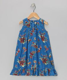 Take a look at this Blue Blossom Ruffle Dress - Toddler & Girls by Yo Baby on #zulily today!