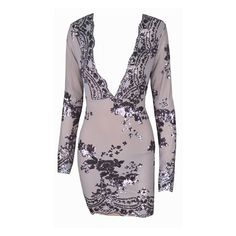 What I Want Grey Silver Long Sleeve Plunge V Neck Sequin Flower... (1 340 ZAR) ❤ liked on Polyvore featuring dresses, gray cocktail dress, bodycon dress, long sleeve sequin dress, bodycon mini dress and long-sleeve mini dress