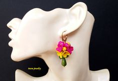 Flower Earrings, Statement Earrings, Romantic Earrings, Spring Jewelry, Yellow Earrings, Fuchsia Earrings, Colourful Jewelry, Gift For Her