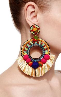 These festive **Ranjana Khan** earring are crafted in colorful fabrics in an open tear construction. These festive **Ranjana Khan** earring are crafted in colorful fabrics in an open tear construction. Tassel Jewelry, Textile Jewelry, Fabric Jewelry, Statement Jewelry, Jewelery, Fabric Earrings, Fall Jewelry, Copper Jewelry, Big Earrings