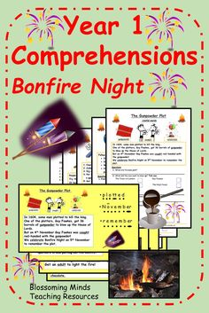 This resource contains 4 comprehension activities suitable for using with year 1 or lower ability year 2. The theme in this pack is 'Bonfire Night.' #bonfirenightcomprehensions #bonfirenightactivities #thegunpowderplot #fireworksnight #year1comprehension #year1 #ks1 #blossomingmindsteach