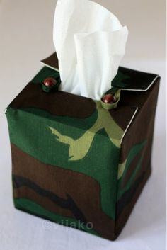 Camouflage Tissue Box Cover via Etsy