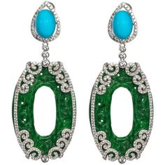 Fabulous Faux Turquoise Jade Diamond Long Earrings