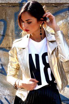 Весна. Перезагрузка. Куртка gold, натуральная кожа, итальянский бренд N8 Numerootto