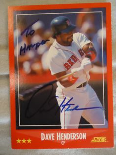 1988 Score #228 Dave Henderson (In Person) Personalized to my daughter ***DEC***
