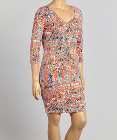 Another great find on #zulily! Coral Tribal V-Neck Dress - Plus by MINX #zulilyfinds