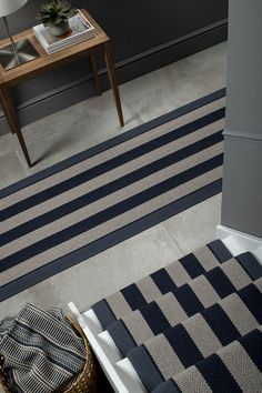 The Beautiful Dart in Midnight by Roger Oates Design. Contact us here at Mister Smith Interiors for a free measure and quote. Stair Landing, Striped Rug, Stairs, Stair Runners, Flooring, Traditional, Modern, Decorating Ideas, Decor Ideas