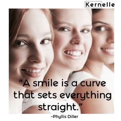 """ Smile is a curve that sets everything straight."" - Phyllis Diller      #smile #kernelle #beauty    📍www.kernelle.com Phyllis Diller, Everything, Smile, Movie Posters, Beauty, Film Poster, Beauty Illustration, Billboard, Film Posters"