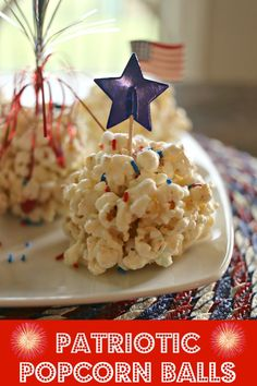 Easy popcorn balls recipe incorporating red and blue M&Ms and sprinkles for a delicious patriotic treat perfect for Memorial Day, 4th of July or Labor Day celebrations. by PenneyLane.com