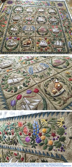 Sue Garman's Ladies of the Sea quilt design with massively appliqued borders. Made by a client of/quilted by Margaret Solomon Gunn http://quiltsoflove.blogspot.com