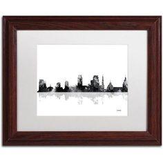 Trademark Fine Art Sacramento California Skyline BG-1 inch Canvas Art by Marlene Watson, White Matte, Wood Frame, Size: 16 x 20, Brown