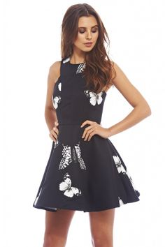 Butterfly Kisses Print Skater Dress
