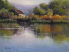 """artist Phil Bates """"Landscape painting"""" example of how neutrals in a landscape painting help pure colors direct the viewers eye to a focal point  WetCanvas"""