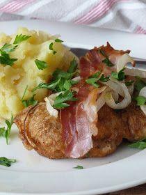 Kouzlo mého domova: Obrácené řízky a šťouchané brambory s cibulkou Czech Recipes, Ethnic Recipes, Snack Recipes, Snacks, Baked Potato, Pork, Menu, Chicken, Baking