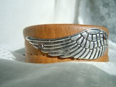 Silver Wing Recycled Leather Cuff Bracelet by TimeFound on Etsy, $10.00