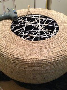 Hometalk :: Tire into an Ottoman DIY