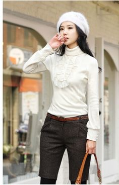 Korean High Neck Long Sleeve T-Shirt in Lace on BuyTrends.com, only price $9.00