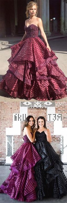Charming Ball Gown Sweetheart Strapless Burgundy Long Prom Dress with Beading