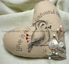 Heart Soft Sculpture Pincushion Pillow Ornament Pen Ink Fabric Illustration by Michelle Palmer Feathered Bird Sparrow Finch Valentine Love Fabric Hearts, Old Sweater, Ink Illustrations, Painted Paper, Pin Cushions, Pillows, Soft Sculpture, Vintage Pins, Cute Pattern
