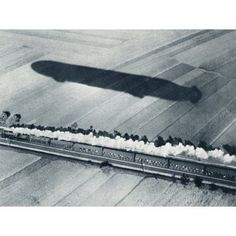 Shadow Of The Fast Zeppelin Air Ship Schwaben Keeping Pace With An Express Train From The Illustrated War News 1915 Canvas Art - Ken Welsh Design Pics (32 x 24)