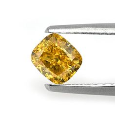 $+  058Cts Fancy Intense Orange Yellow Loose Diamond Natural Color Cushion Cut GIA
