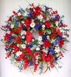 4th of July-Americana-Patriotic Wildflower by SeasonalWreaths