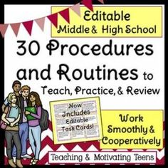 Quick & easy guide for classroom procedures and routines as well as behavior management. Uploaded as a Microsoft Word, PowerPoint, and PDF document so you can edit and revise to fit your students' needs.This also allows you to create handouts, task cards, or use as presentation. Attached are procedures and routines to keep your class running smoothly. The procedures are listed and then the steps are explained - simple, effective, to-the-point.