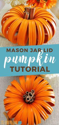 Mason Jar Lid Pumpkins with Cinnamon Stick stem makes the cutest fall centerpiece. It - Diy and crafts interests Canning Lid Pumpkin, Mason Jar Pumpkin, Canning Jar Lids, Mason Jar Lids, Diy Pumpkin, Pumpkin Crafts, Painted Mason Jars, Fall Mason Jars, Jar Lid Crafts