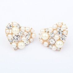 Pair of Chic Brilliant Rhinestone and Faux Pearl Embellished Women's Sweetheart EarringsEarrings | RoseGal.com