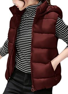 Cruiize Womens Winter Stand Collar Warm Quilted Outwear Down Vest Gilet Wine Red S * Click image for more details. (This is an affiliate link)