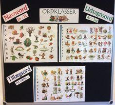 Min 3. Klasse ønskede at få kendeordene til de forskellige ordklasser op på tavlen med ordklasser - så det var nemmere for dem at huske :-)