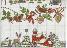 Feliz Natal: Sampler e mais. Xmas Cross Stitch, Cross Stitch Borders, Cross Stitch Kits, Cross Stitch Charts, Cross Stitch Designs, Cross Stitching, Cross Stitch Embroidery, Embroidery Patterns, Cross Stitch Patterns