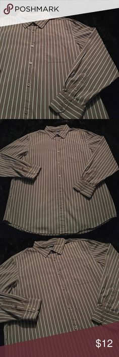 Men's Size XXLarge Reverb Button Up Shirt Brown with Baby Blue Stripes Size XXLarge Long Sleeved Button Up Shirt by Reverb Reverb Shirts Casual Button Down Shirts