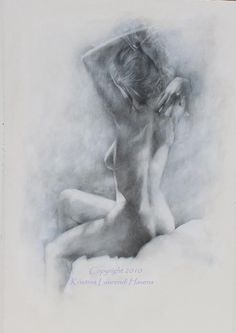 Classic Black and White Charcoal Drawing of the by Krystyna81, $30.00,   maybe for my bathroom ?