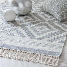 NAVAJO grey cotton rug with jacquard motifs 90 x 150 cm