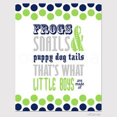 "Wall Art Frogs Snails Puppy Dog Tails Quote Print, Dots Navy Blue Lime Green Gray White Kids Baby Boys Nursery Room Decor ofCarola 8x10"" on Etsy, $15.00"