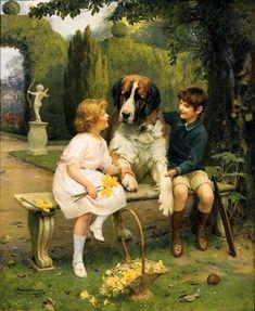 Children with a St. Bernard...Arthur John Elsley (1860 – 1952, English)